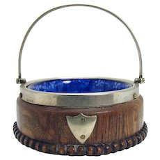 Flow Blue Bowl with Oak Holder