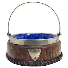 Flow Blue Bowl with Oak Holder