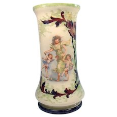 Victorian Fireglow Glass Vase with Angels and Maiden