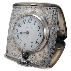 Incised Sterling Folding Travel Clock - 1940's