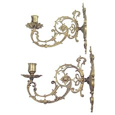 Solid Cast Brass Wall Sconces - 1890's