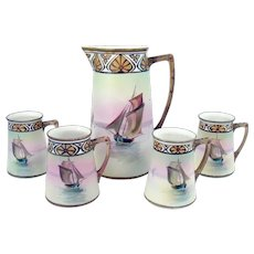 Hand Painted Nippon Porcelain Nautical Pitcher with Four Cups