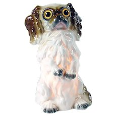 German Porcelain King Charles Spaniel Perfume Lamp with Glass Eyes - 1920's