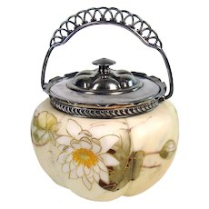 Mount Washington Glass Biscuit Jar with Silver Plated Handle - 1890's
