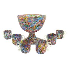 Miniature Millefiori Glass Punch Bowl with Six Small Cups