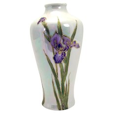 Gebruder Heubach Hand-Enameled Porcelain Iris Vase