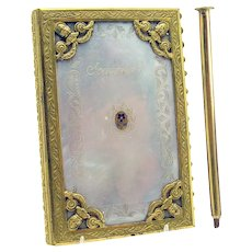 Rare Dance Calling Card Book with Mother of Pearl and Cloisonne Inlay - 1820's