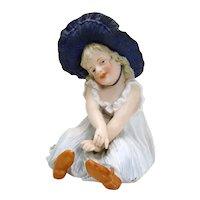 Signed Heubach Porcelain Girl with Blue Bonnet