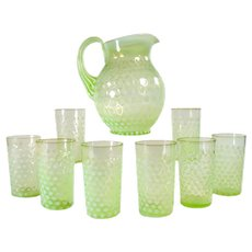 Vaseline Coinspot Opalescent Glass Pitcher with 8 Glasses