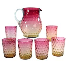 Amberina Glass Pitcher with 6 Glasses