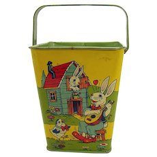 Lithographed Tin Sand Bucket with Peter Rabbit - Near Mint