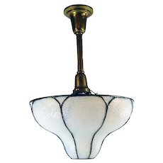 Opalescent Leaded Pendant Lamp with Curved Panels - 1920's