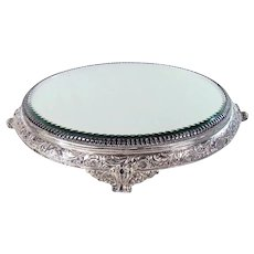 Signed Silver Plated Jewelry Plateau with Beveled Glass
