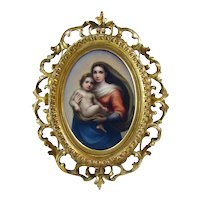 Hand-Painted Porcelain Plaque with Ornate Frame - 1890's