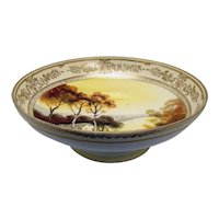 Large Nippon Porcelain Footed Bowl with Scenic Depiction - 1920's