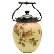 Mount Washington Burmese Glass Biscuit Jar - 1890's