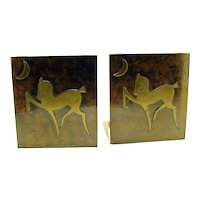 Art Deco Silver Crest Bookends with Horses - 1920's