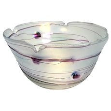 Large Bohemian Art Glass Bowl with Applied Threading