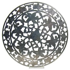 Glass Trivet with Sterling Overlay - 1910