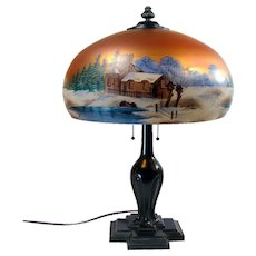 Reverse and Obverse-Painted Electric Table Lamp - 1920's