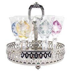 Cut Glass Cordial Set of 6 with Original Carrier - 1940's