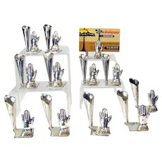 Set of 12 Solid Sterling Place Card Holders with Hand Motif
