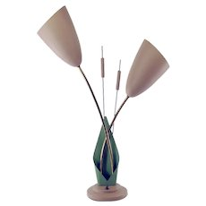 Mid-Century Double Arm Cattail Table Lamp
