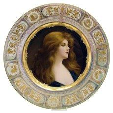 Hand-Painted Royal Vienna Porcelain Portrait Plate - 1890's