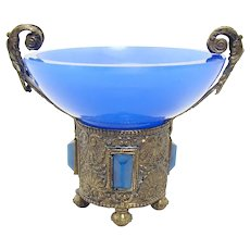 Blue Glass Embossed Salt - 1890's