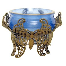 Blue Glass Filigreed Butterfly Salt - 1890's