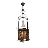 Brass and Faceted Jeweled Entryway Lighting Fixture - 1880's