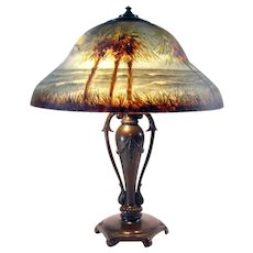 Signed Classique Reverse-Painted Table Lamp - 1920's