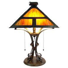 Signed Bradley & Hubbard Arts and Crafts Slag Table Lamp - 1920's
