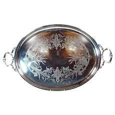 Huge Silver Plated Aesthetic Serving Tray - 1890's
