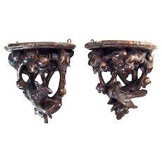 Carved Black Forest Walnut Shelves - 1900's