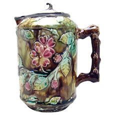 Majolica Porcelain Pitcher with Pewter lid - 1880's