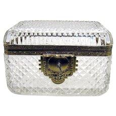 Cut Glass and Brass Jewelry Casket - 1930's