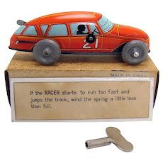 Race Car Wind-up Toy with Instructions and Key - 1940's