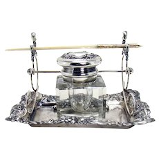 Signed Victor Silver Plated Inkwell and Dip Pen - 1890's
