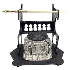 Cast Iron Inkwell and Dip Pen - 1880's
