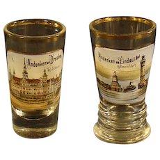 German Enameled Hand Painted Souvenir Glasses