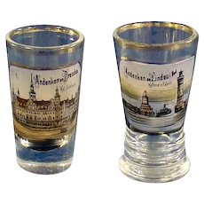 German Enameled Hand Painted Souvenir Glasses