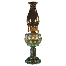 Blue Coin Spot Opalescent Stand Lamp - 1880's