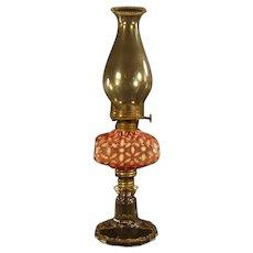 Hobbs Cranberry Snowflake Stand Lamp - 1880's