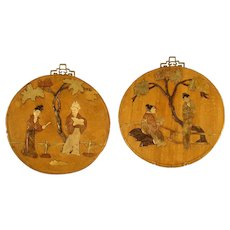Japanese Wall Plaques with Inlaid Stones (Pair) - Late 1800's