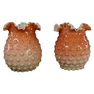 Mount Washington Hobnail Art Glass Vases (pair)