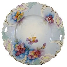 Hand Painted Porcelain Plate with Pansies