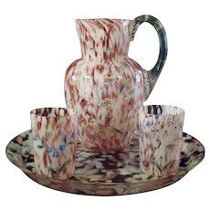 Spatterware Pitcher and Tray with Two Glasses