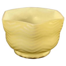 Butterscotch Herringbone Satin Glass Bowl