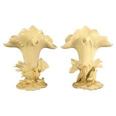 White Porcelain Spill Vases with Egrets - 1890's (pair)